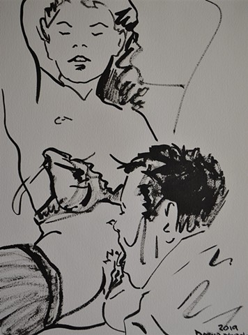 Loving Man, drawing, brush and Indian Ink, cunnilingus, oral sex, david murphy, Irish, Ireland