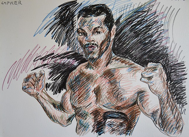 Tyson Flexing, coloured pencils, drawing, david murphy