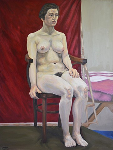 N.C.A.D. Seated Female Nude, 1992, david brendan murphy, cypher, the panic artist