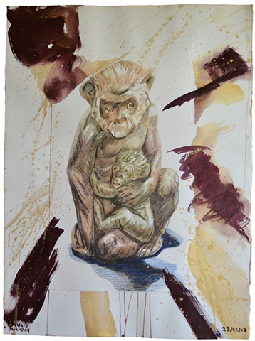 Monkeys, 2013, painting, collage, drawing, david murphy
