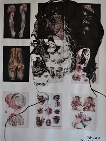 Self-Portrait Within Culture No. 2, david murphy, collage, drawing, indian ink