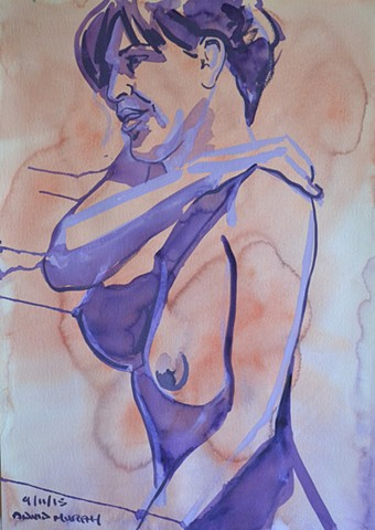 Twisting Nude Woman, Female Nude, gouache, watercolour, david murphy