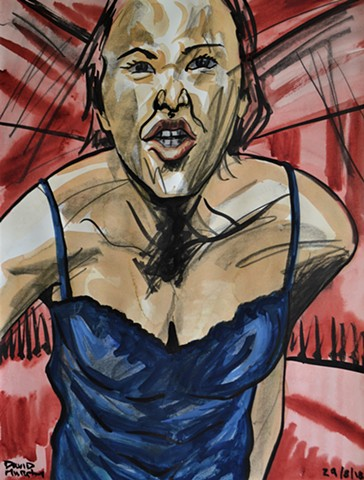 Mad Woman, watercolour, indian ink, conte crayon, david murphy, irish, ireland, dublin,