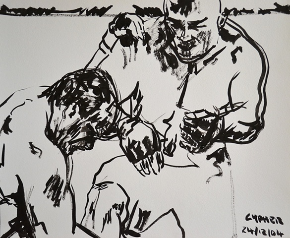 Brock Lesner V Randy Couture No. 1, ink drawing, david murphy,
