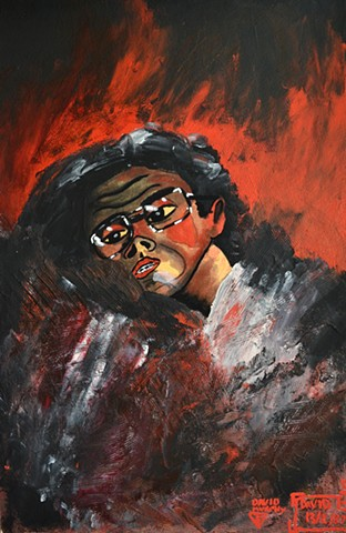 Between Heaven and Hell, 1988, self-portrait,  watercolour, david murphy,