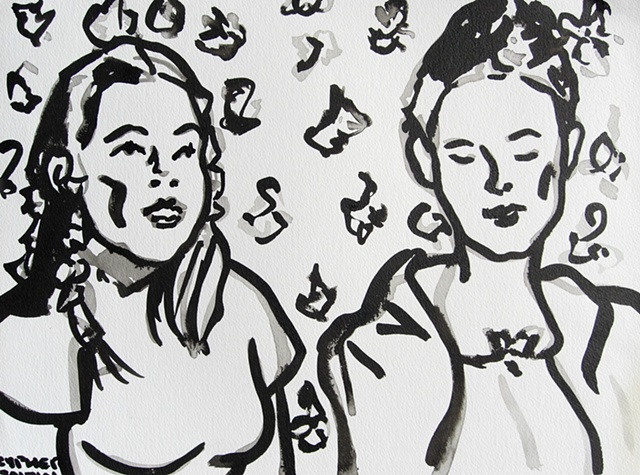 Two Women, reasonable priced art, value art, David Murphy, Cypher, The Panic Artist