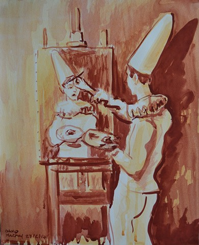 Clown Painting A Self-Portrait, 2014, watercolour, david murphy