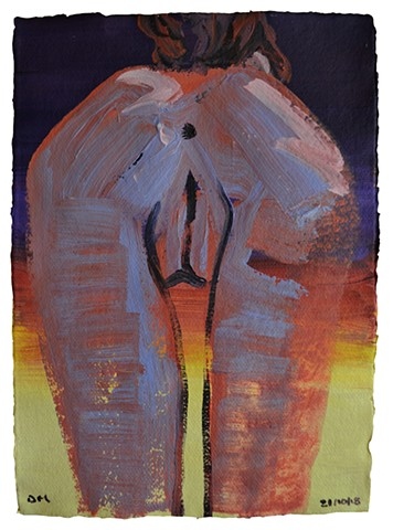 Sunset Nude, female, woman, bottom, rear, acrylic, david murphy, irish, ireland, dublin