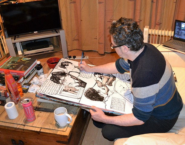 David Murphy, artist, working, making art, drawing, erotic, porn, Dublin, Ireland, Irish