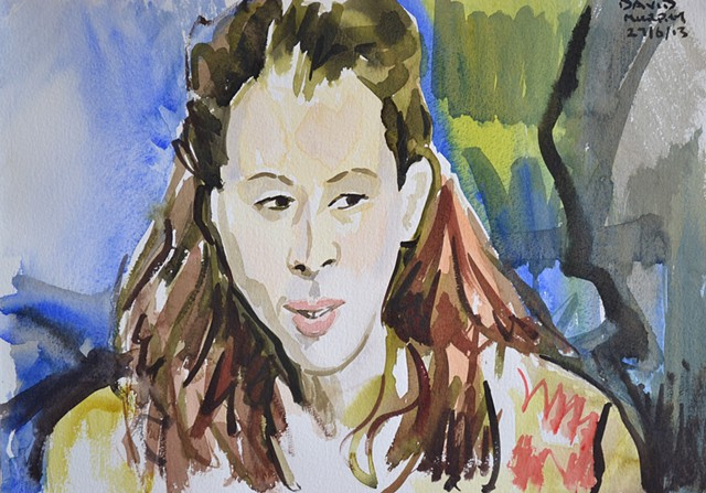 Boho Girl No. 2, watercolour, david murphy