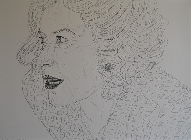Attentive Woman, pencil, drawing, david murphy, cypher, the panic artist