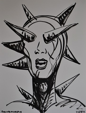 Spiked Head, drawing, brush and ink, sketch, study, david murphy, irish, ireland, dublin