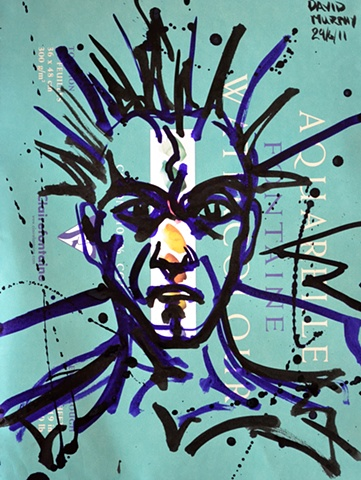 Self-Portrait Sketch No. 1, david brendan murphy, cypher, the panic artist, abstarct, expressionist, neo-expressionist