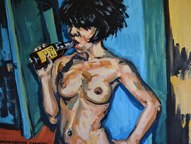 Nude Girl With Beer
