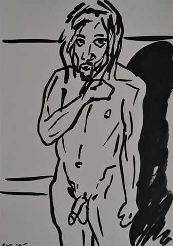 Nude Self-Portrait Sketch No. 2, cypher, the panic artist, david murphy, irish, ireland, dublin, drawing