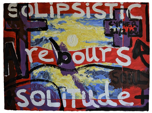 A Rebours No.2, painting, text, neo-expressionism, outsider art, acrylic, collage, david murphy