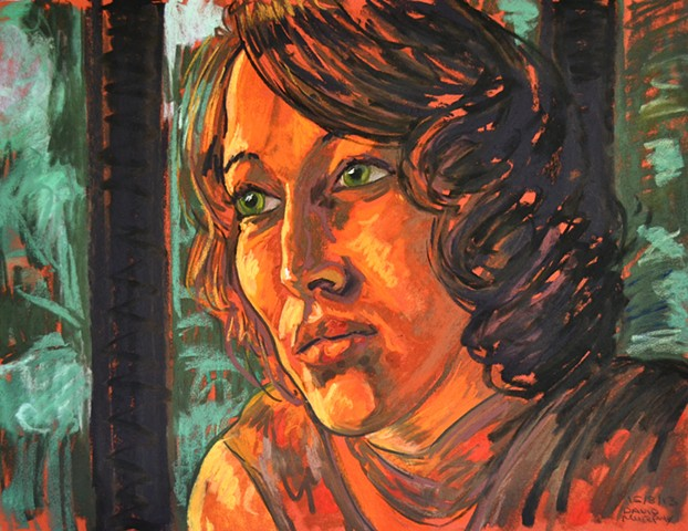 Woman in Amber Light, pastel, david murphy, irish artist, dublin, ireland, irish painter