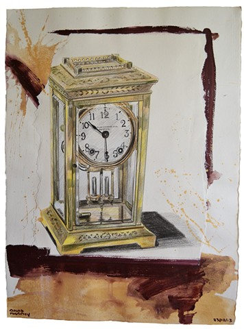 Boston Clock, 2013, painting, collage, drawing, david murphy