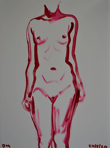 Pink Female Nude Sketch, erotica, erotic, lover, oil, painting, david murphy
