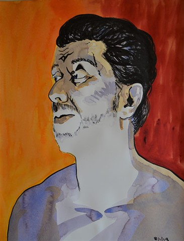 Self-Portrait in Hell No. 2, watercolour, indian ink, david murphy, artist, ireland, irish, dublin