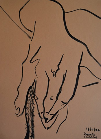 2020, Sketch of Girl Masturbating No. 2, Indian ink, david murphy, ireland, dublin