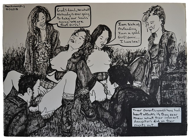 The Rebellion of the Riot Girls, erotic, cartoon, satire, porn, text, david murphy, irish
