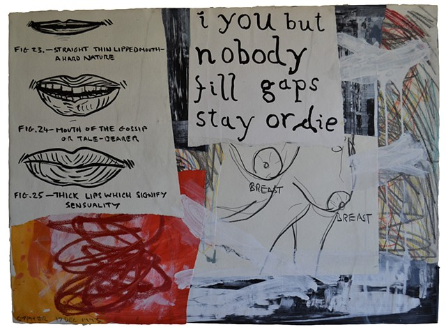 Stay or Die, collage, drawing, art brut, outsider, cypher, the panic artist, david murphy