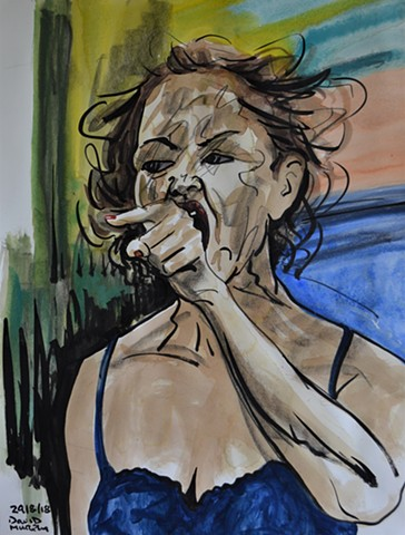 Angry Woman, watercolour, indian ink, conte crayon, irishart, dublinart, davidmurphy,