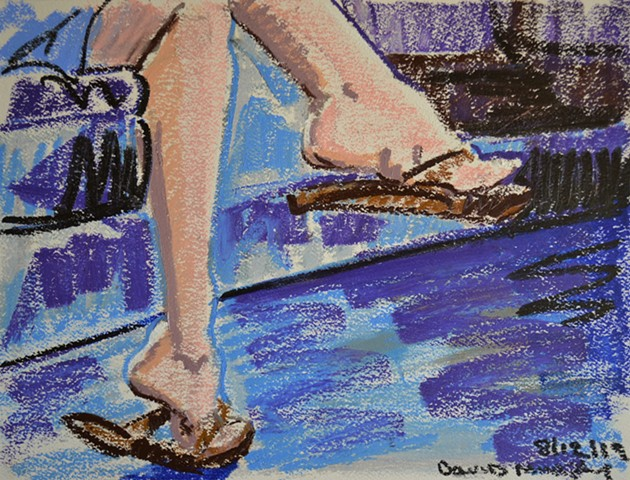 Sexy Feet, oil pastel, drawing, artwork, erotic, david murphy, irish, ireland
