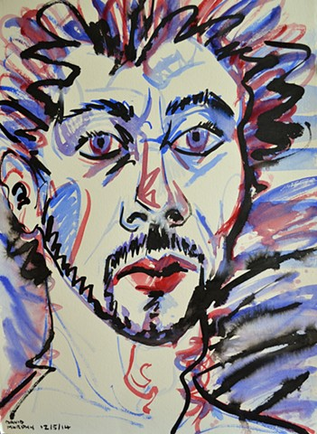 Maniac Self-Portrait No. 1, david murphy, watercolour