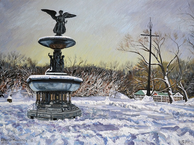 Bethesda Fountain In The Snow, david brendan murphy, cypher, the panic artist, dublin, ireland, irish