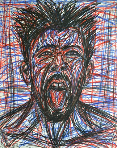 Red-Faced Self-Portrait, 1994, david brendan murphy, cypher, the panic artist