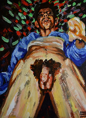 Self-Portrait with Pyjamas Pulled Down, painting, art, david murphy, ireland, dublin