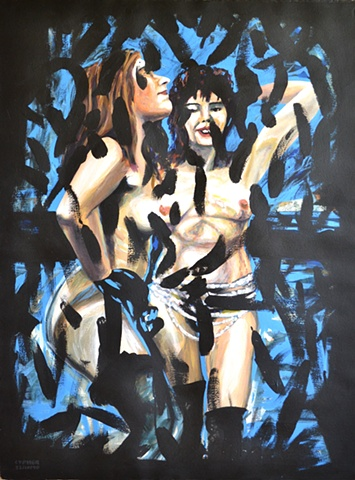Overpainted Dancers, acrylic,