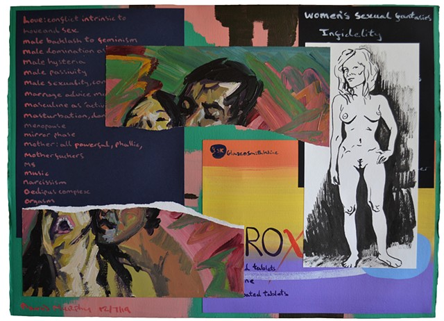 Painting of Contemporary Mediated Life, david murphy, irish, ireland, painting, collage, pornography, erotica