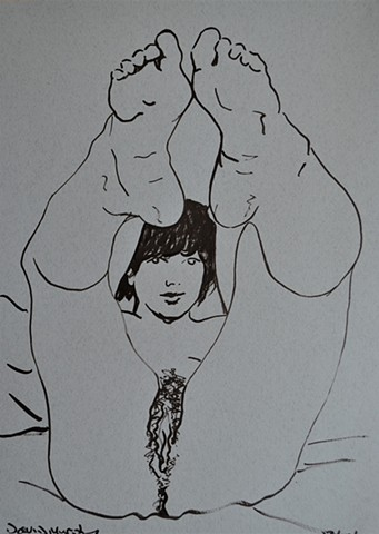Woman with Legs in Air, female, nude, porn, drawing, brush and ink, david murphy, ireland, irish, dublin
