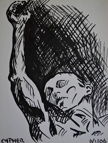 Writhing Male Nude No. 2, brush and indian ink, sketch, study, drawing, david murphy