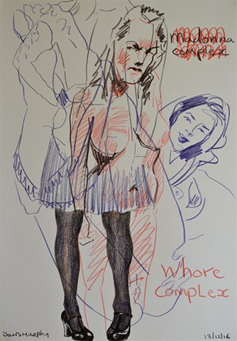 Madonna/Whore Complex, coloured pencils, drawing, David Murphy