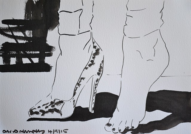 With and Without a Shoe, David Murphy, brush and indian ink,