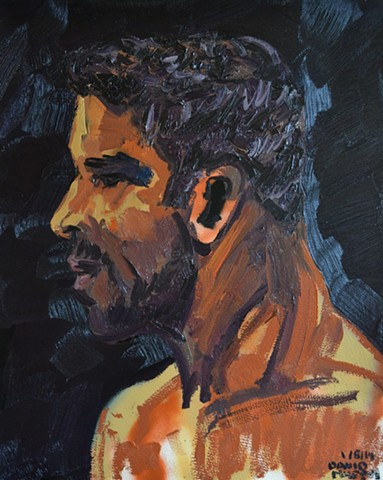 Man in Profile, david murphy, oil and spray paint