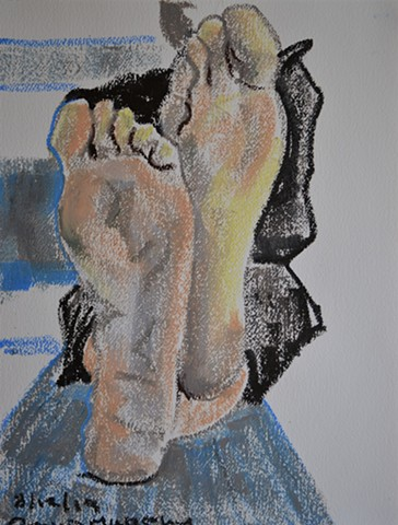 Sexy Soles, oil pastel, drawing, artwork, erotic, david murphy, irish, ireland