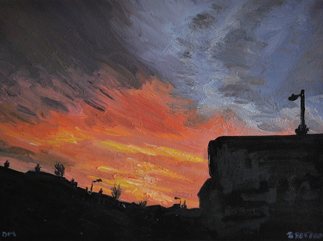 Sunrise No. 2, oil painting, david murphy, irish, ireland, painting, sky, coulds,