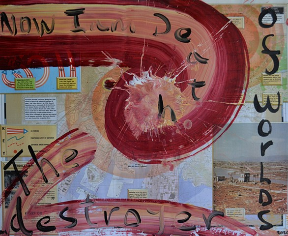 Now I am Death, war map, text, abstract, painting, david murphy,