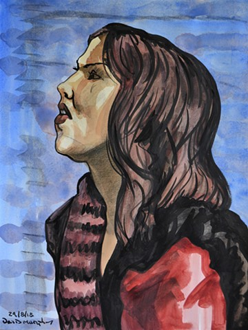 Sad Girl, watercolour, conte crayon, indian ink, portrait, profile, david murphy