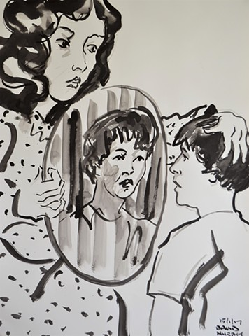 The Mirror No. 4, drawing, indian ink, David Murphy, Ireland, Irish, dublin