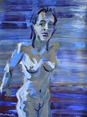glimpse of a naked woman, painting, acrylic, female, nude, blurred, irish, ireland, david murphy