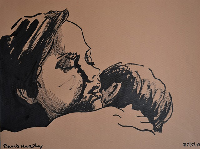 Embrace Study, brush and Indian ink, drawing, couple, erotic, david murphy, irish, ireland
