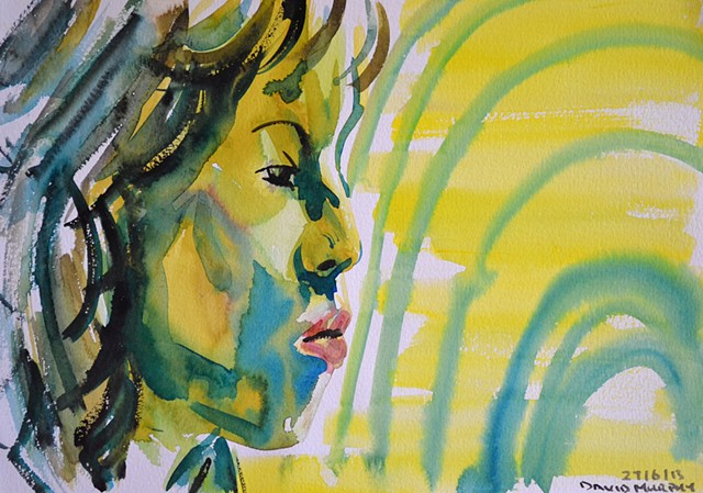Moody Girl's Profile, watercolour, wet in wet, david murphy