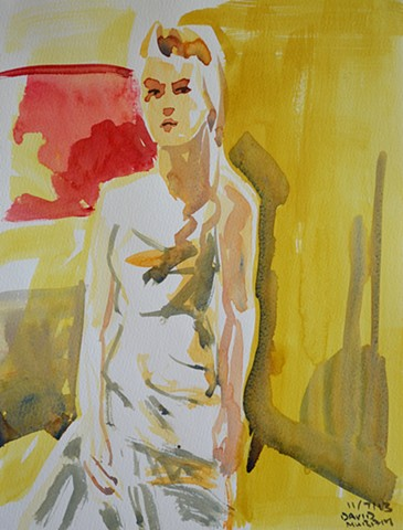 Woman in Long Dress, watercolour, wet in wet, david murphy