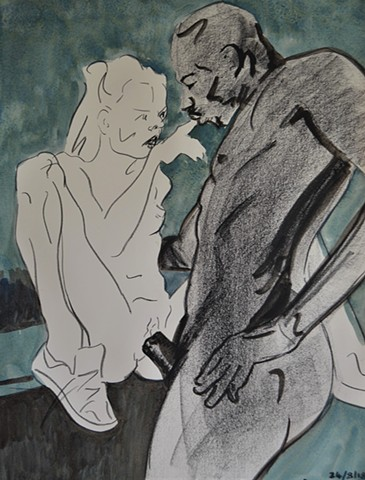 Loverman, porn, interracial, sex, intercourse, watercolour, drawing, david murphy